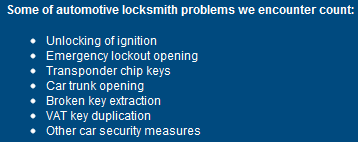 Some of automotive                                           locksmith problems we                                           encounter count: