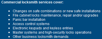 Commercial locksmith                                           services cover: